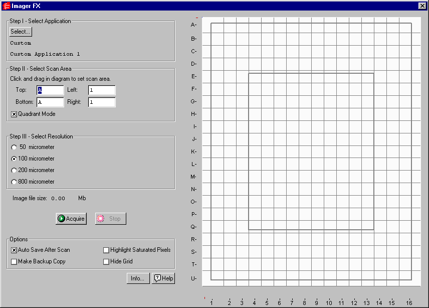 Molecular Imager FX Fig. 11-2. FX acquisition window The default scanning window is marked by grid lines that divide the area into quadrants.
