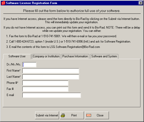 Introduction Fig. 1-11. Software License Registration Form. Note: If you do not yet have a Purchase Order Number or Software Serial Number, you may leave these fields blank to receive a trial license.