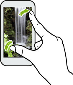 Pinch and Spread Pinch the screen using your thumb and forefinger to zoom out or spread the