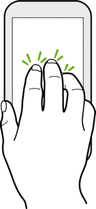 Three-finger Tap While using the HTC Car app, tap the screen with three fingers to activate the voice