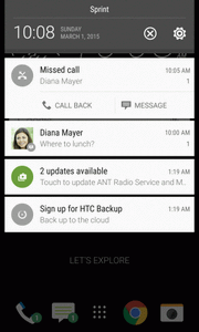 2. On the Notifications panel: Some notifications allow you to take immediate action. For example, tap a missed call notification to return the call or reply with a text message.