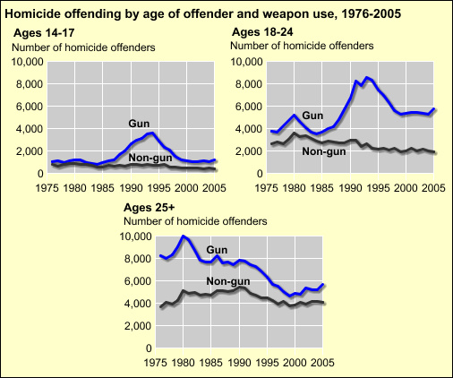 beginning with the mid-1980's and fell after the early 1990's Gun homicides by persons 18-24 years old declined after the peak in 1993 but have not returned to the levels seen prior to the mid 1980's.