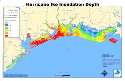 During Hurricane Ike, the surge moved inland nearly 30 miles in some locations in southeastern Texas and southwestern Louisiana.