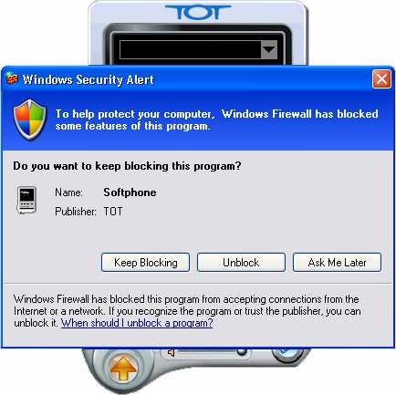 Windows Security Alert TOT netcall Softphone Click Unblock ก Windows