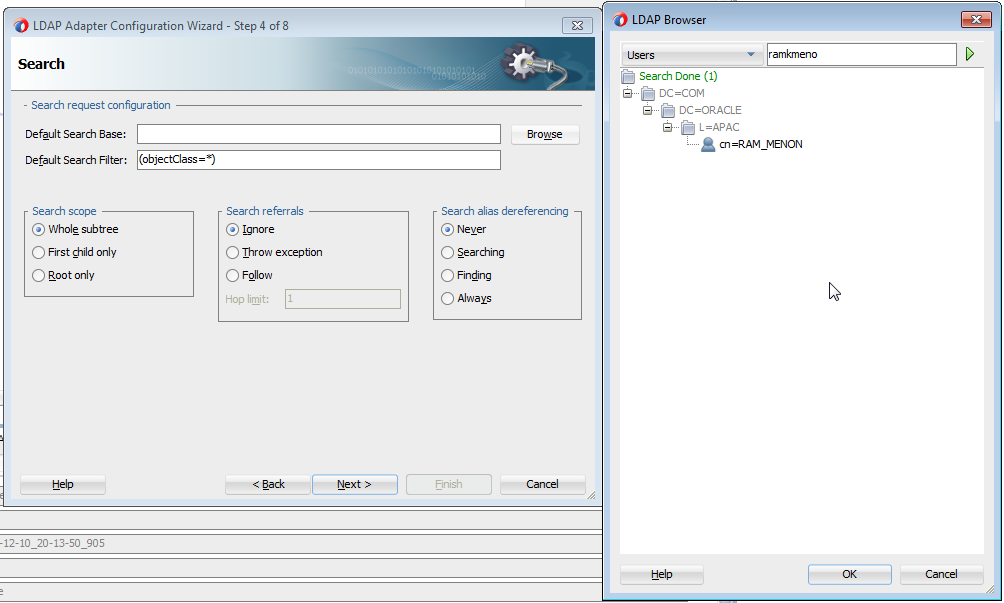 Figure 26: Search Configuration with a built-in LDAP Browser in the Adapter Design-time The Enhanced UMS Adapter The UMS Adapter was introduced in Oracle SOA