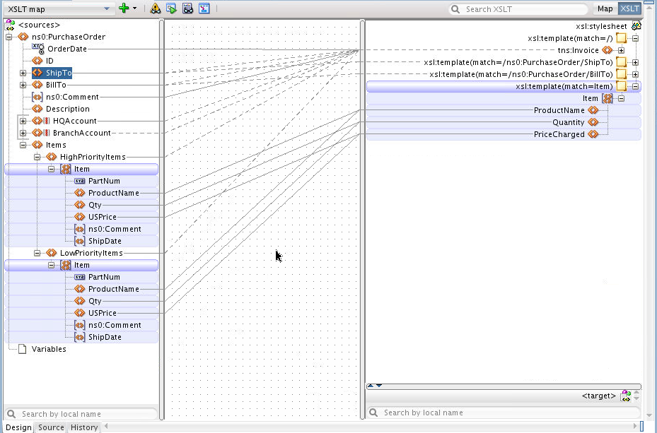 Figure 33: XSLT Map View multiple templates and context highlighting Figure 34 shows context highlighting when using an identity template.