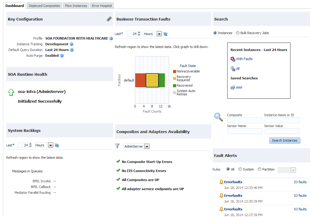 The main SOA dashboard has been redesigned to focus on system health and a consolidated view of faults and issues.