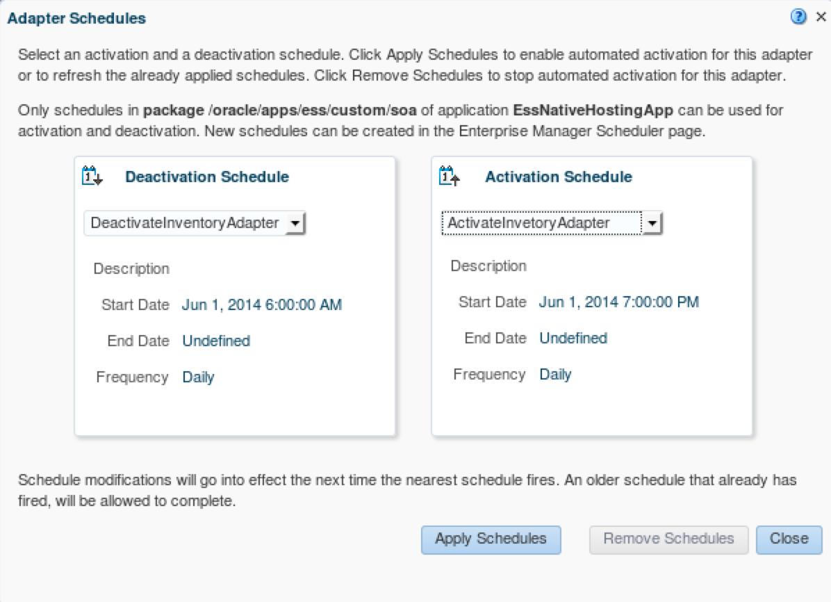 Figure 47: Enterprise Scheduler Service adapter activation/deactivation schedule The Enterprise Scheduler Service is also used for bulk error recovery, as described in the Error Hospital section, and