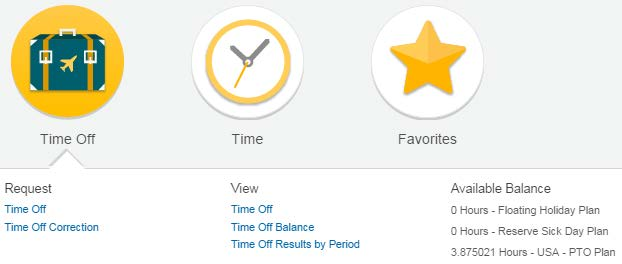 Time Off in Workday In order to manage your time off in Workday, locate the Time Off Bubble on your Workday Home page.