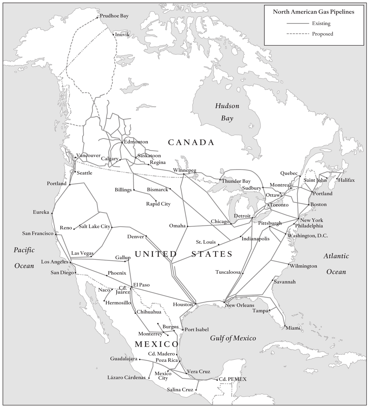 North American Energy Interdependence 27 Figure 8: North American GAS Pipelines Sources: Canadian Energy Pipeline Association; Pemex; U.S. EIA. sands to U.S. refineries, the U.S. government has repeatedly delayed the final decision on the pipeline.