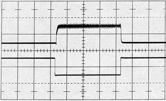 The sample window width is adjusted so that all remaining activity is observable. In this way, the oscilloscope output is reliable and meaningful data may be taken. Figure 14 shows circuit waveforms.