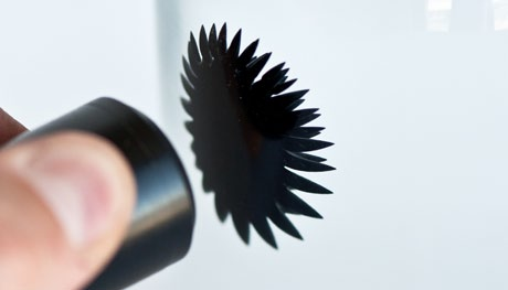 Koeing, University of Wisconsin-Madison Ferrofluid is the only liquid that s magnetic! All other magnetic materials are solid. When there s no magnet around, ferrofluid is a thick fluid.