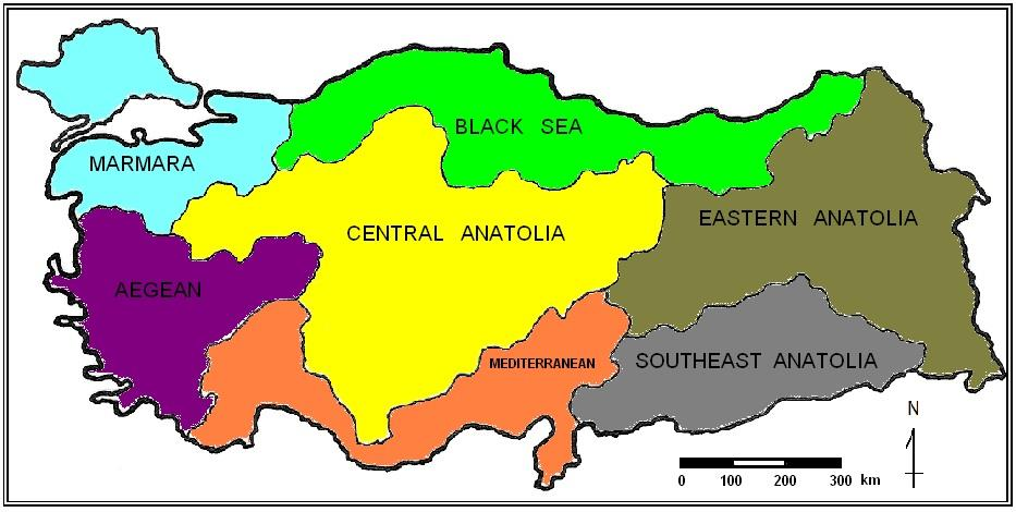 Fig. 3. Geographical regions of Turkey The European part of Turkey is generally flat in comparison with Black Sea Region and is favourable for agriculture.