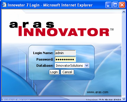Login to Innovator 1. Open Internet Explorer and type in the URL configured for your system. The Login dialog box appears. 2. Enter User Name: 3.