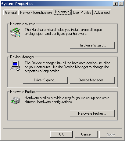 Click the Device Manager button on the hardware page Can you see Network Adapters on the Device Manager list? YES: Click on + sign to the left of Network Adapters.
