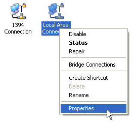 select Properties from the grey box that appears.