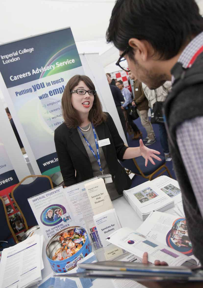 14 Amy Townsend, Placement and Internship Officer, discussing a student s options at the College Careers Fair.