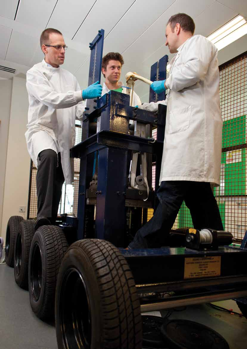 18 Professor Anthony Bull (left), Professor of Musculoskeletal Mechanics, and his research team in action in the Royal British Legion Centre for Blast Injury Studies at Imperial College London.