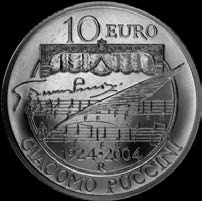 2004 Dittico - Set of two coins 100 Anniversario della prima rappresentazione lirica di Madama Butterfly 100 th Anniversary of the first lyric representation of Madame Butterfly Valore nominale: 5,00