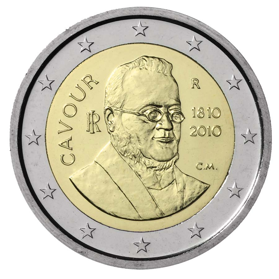 Collezioni 2002-2011 Collections 2 Euro 200 Anniversario della nascita di Camillo Benso Conte di Cavour Monete commemorative a corso legale - in BLISTER 200 th Anniversary of the birth of Camillo