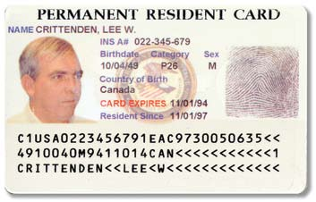 Older version Permanent Resident Card (Form I-551) front and back Foreign