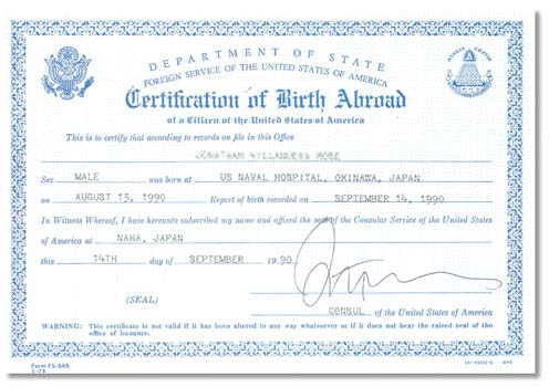 Metal or plastic reproductions are not acceptable. U.S. Social Security Card Certification of Birth Abroad Issued by the U.S. Department of State These documents may vary in color and paper used.