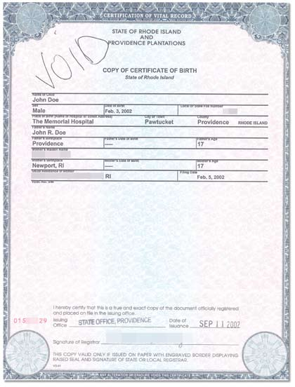 a birth certificate issued by a state, county, municipal authority, or outlying