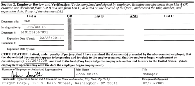 1 2 3 Figure 2: Section 2: Employer Review and Verification 1 Employer records document title(s), issuing authority, document number, and the expiration date from original documents supplied by