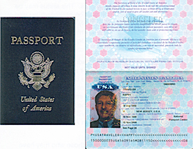 Services for U.S. Citizens Page 321 of 322 SAMPLE U.S. PASSPORT A UNITED STATES PASSPORT is a document that is issued by the State Department to persons who have established that they are citizens of