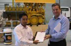 It was officially given by Ed Cullen from Caterpillar and was received by Mr. Bari Hamami, our President Director.