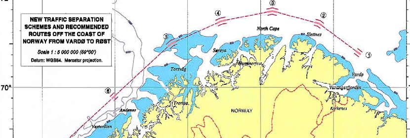 part 8 In early December 2006, IMO approved Norway s proposal for the establishment of a ships routeing and traffic separation scheme along the coast of North Norway. mainland.