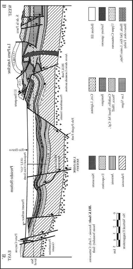 Tectonic history of the Chihuahua trough: Mesozoic and Cenozoic 67 Figure 11. Structure section B-B from Sierra de la Parra to Pinto Canyon. See Figure 8 for location of section. S. de la Parra and El Banquete (see Figure 14, section - for detail) after (1966); Gulf LO from Gulf Oil Co.