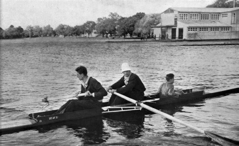 ROWING In the event for four-oars with cox, led all the way to win comfortably from Sweden, with Finland third and fourth. The eight-oared event provided the most thrilling race of the regatta.