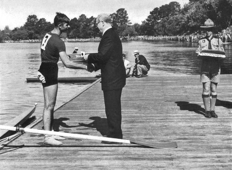 Ivanov, winner of single sculls, receiving his Gold Medal. REPECHAGES The winner of each Repechage qualified for the Semi-finals. REPECHAGE. J. R. Hill New Zealand m. 8 s. 9.9. N. Hatziyakoumis Greece 00.