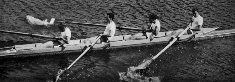 The Canadian crew winning the first semi-final. REPECHAGE. (J. Y. Harrison-P. M. Evatt-G. Williamson-D. R. Anderson). Hungary (C. Kovács.R. Riheczky.Z. Kávai-G. Utö) m. 8 8 s. 0. 7.0 REPECHAGE.
