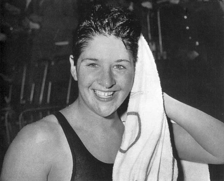 Dawn Fraser after the final when she set new World and Olympic times for 00 metres...... 6. 7. 8. D. Fraser F. Leech J. Rosazza N. Myburgh V. Gyenge Z. Ordögh H. Stewart B.