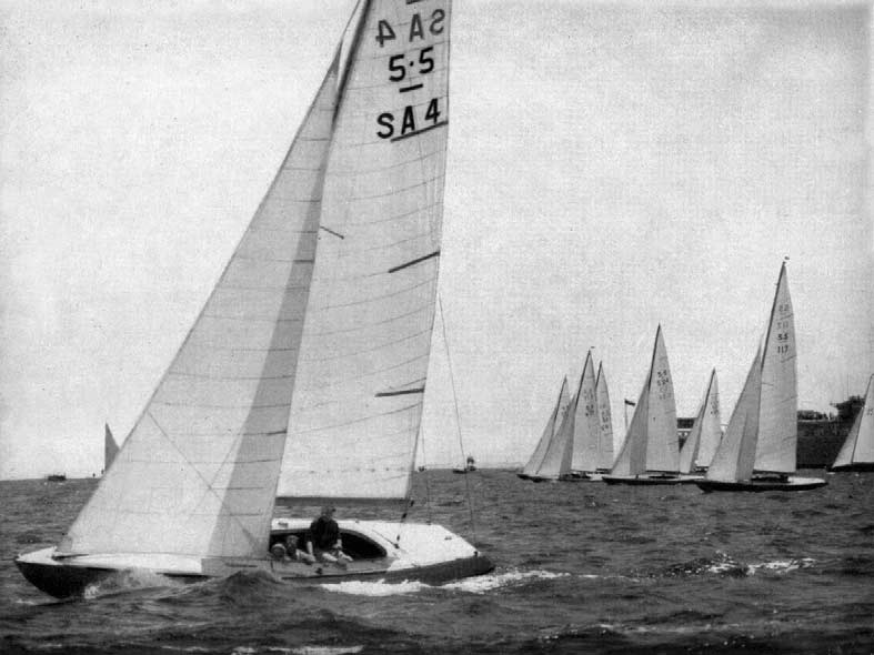 The start of the. race on the last day. From left : Yeoman V (SA ), Druzhba (SR ), Vision (K 7), Tilly (G ), Rush V (S ), Buraddoo (KA ), Twins VIII (I 7), Gilliatt V (F 8).