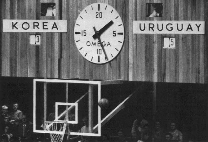 Timing clock, Scoreboard and plastic backboard as at each end of the court.