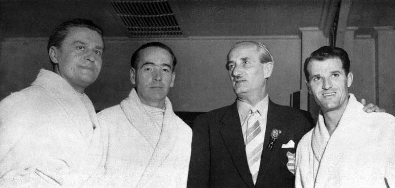 Four Gold Medallists from Hungary. From left Gerevich, Kovács, Kárpáti, with Manager Piller, 9 Champion. The public interest was phenomenal.