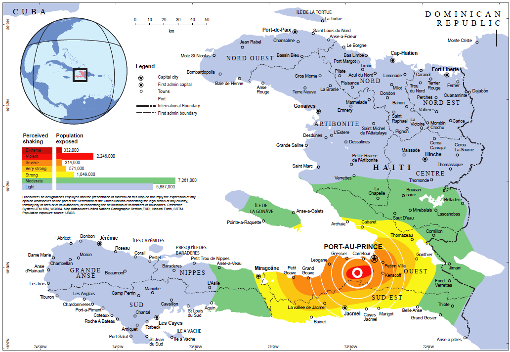 Figure 2: Map of the Haiti Earthquake and Population Exposure 25 Source: United Nations Office of Coordination of Humanitarian Affairs A third of the country s population was directly impacted by the