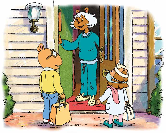 That day after school, Arthur and D.W. walk over to Mrs. MacGrady s house. Arthur is carrying a bag with a jar of chicken soup they made with their dad. D.W. is carrying her doctor s kit.