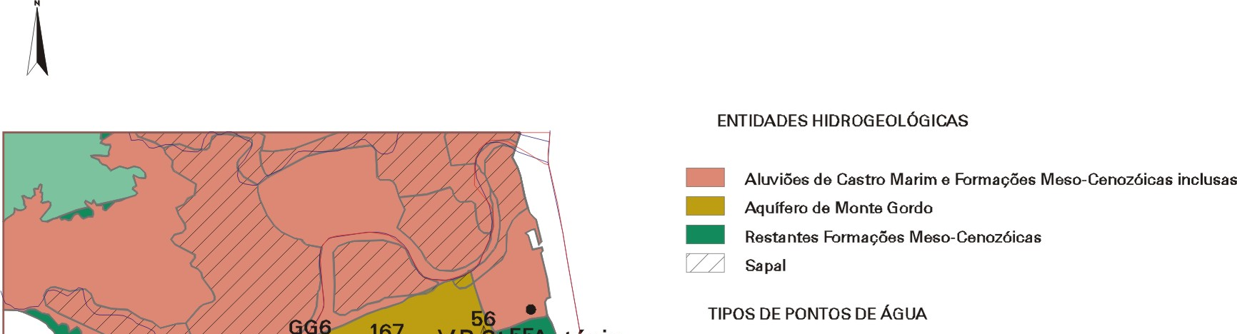 Carrasqueira river Fig. 2 N-S conceptual cross-section of the aquifer system of Monte Gordo For application to the Monte Gordo aquifer system the six GALDIT parameters were evaluated.