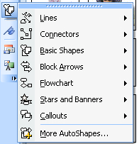 9. AutoShapes: It is easy to insert ready-made shapes (auto shapes) into your document. Select the AutoShapes icon located on the ToolBox.