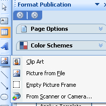 7. Picture Frame: Working with a picture or image in Publisher is much the same as working with a Text Box. The Picture Frame icon is the one meant to look like a landscape. a. Inserting a Picture or Image: When you want to insert a picture or image in your Publisher document, you click on the Picture Frame icon in the ToolBox.