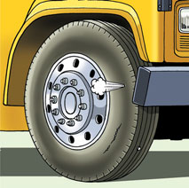 vehicle Inspect all visible parts of tires. N.B.