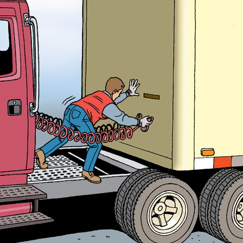 Hazards How to avoid injury WHEN INSPECTING THE TRAILER HITCH Slipping, falling or banging against a stationary object while unlocking the fifth wheel; Slipping or falling while climbing onto or down