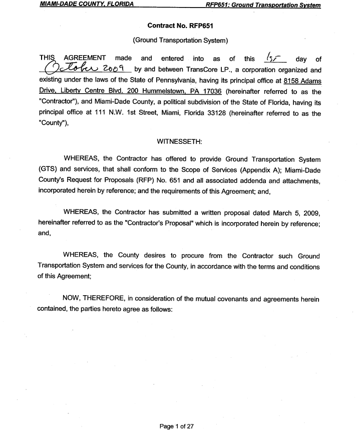 First Page of Contract for Ground Transportation System
