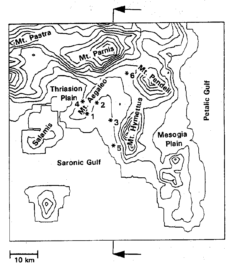 Athens area. Coarse grid domain (top, left).