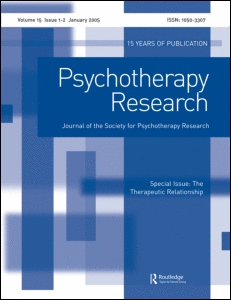 This article was downloaded by: [Society for Psychotherapy Research (SPR)] On: 11 November 2009 Access details: Access Details: [subscription number 762317397] Publisher Routledge Informa Ltd