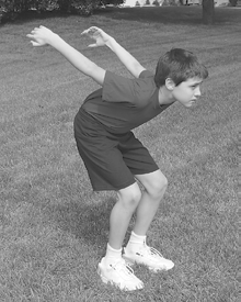 Standing Long Jump (Designate a starting line.) Starting position: Stand with your feet apart and your toes just behind the starting line.